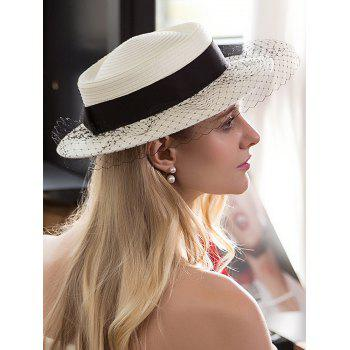 Ribbon Mesh Embellished Fedora Hat