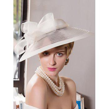 Organza Wide Brim Cocktail Hat with Bowknot - OFF-WHITE OFF WHITE