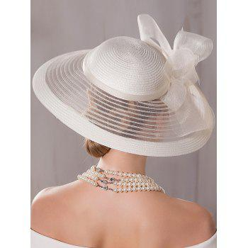 Organza Wide Brim Cocktail Hat with Bowknot - OFF WHITE