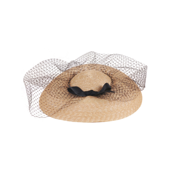 Mesh Veil Ribbon Bowknot Cocktail Hat - PALOMINO