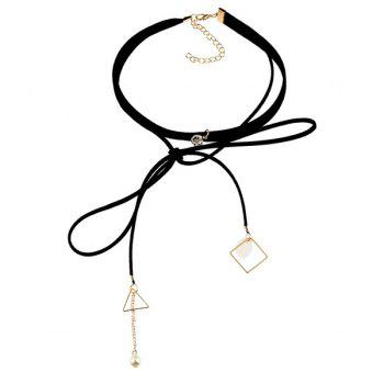 Artificial Pearl Rhinestone Triangle Choker Necklace -  BLACK