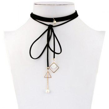 Artificial Pearl Rhinestone Triangle Choker Necklace - BLACK BLACK
