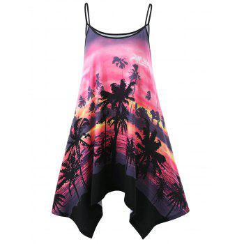 Palm Print Asymmetric Slip Dress
