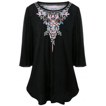 Plus Size Floral Embroidered Long Dressy Top