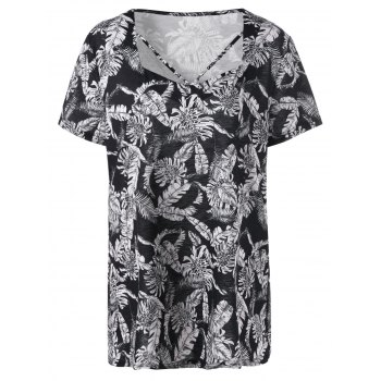 Plus Size Leaf Printed Cutout Top