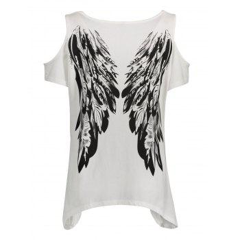 Plus Size Angel Wings Cold Shoulder T-Shirt