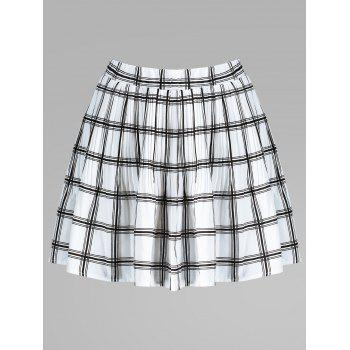Elastic Waist Plaid Pleated Skirt
