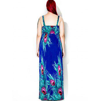 Floor Length Feather Print Plus Size Dress - 4XL 4XL