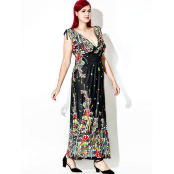 Floor Length Plus Size Print Dress - multicolor 4XL