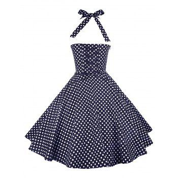 Vintage Halter Polka Dot Pin Up Dress - PURPLISH BLUE S