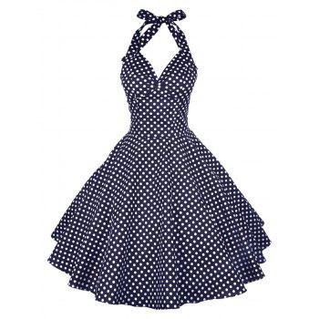 Vintage Halter Polka Dot Pin Up Dress