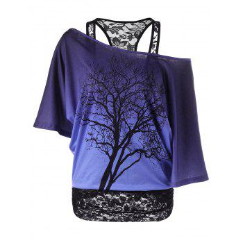 Lace Trim Skew Collar Tree Print T-Shirt