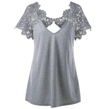 Plus Size Cutwork Lace Trim T-Shirt - GRAY GRAY