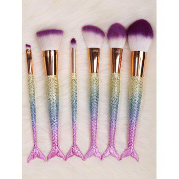6 Pcs Mermaid Design Multipurpose Makeup Brushes Kit - COLORFUL