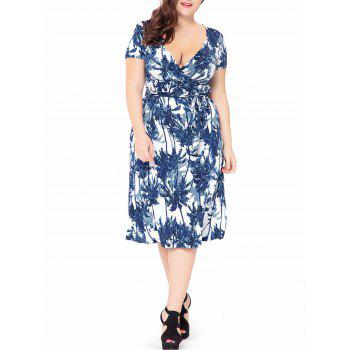 Plus Size Palm Tree Printed Midi Low Cut A Line Dress