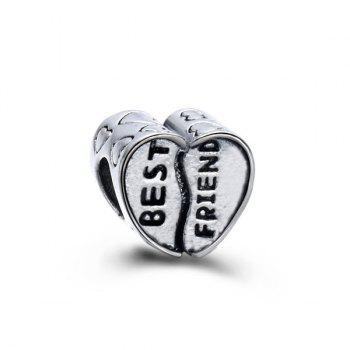 Engraved Best Friend Heart DIY Charm Bead