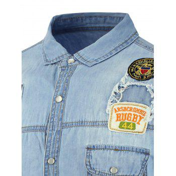 Short Sleeve Badge Design Denim Shirt - CLOUDY 2XL