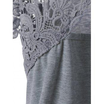 Plus Size Cutwork Lace Trim T-Shirt - GRAY 4XL