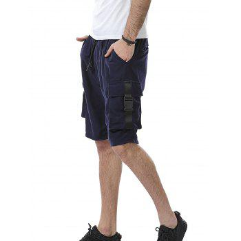Drawstring Pockets Plastic Buckle Design Sweat Shorts - DEEP BLUE 3XL