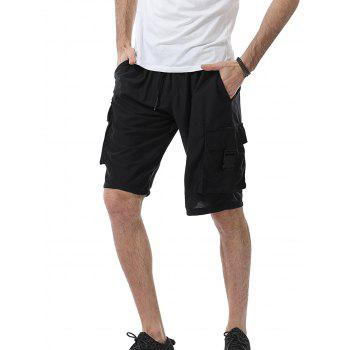 Drawstring Pockets Plastic Buckle Design Sweat Shorts - BLACK BLACK