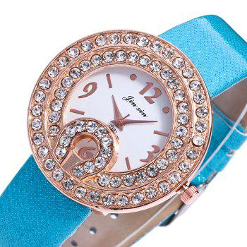 Faux Leather Rhinestone Number Watch - WHITE