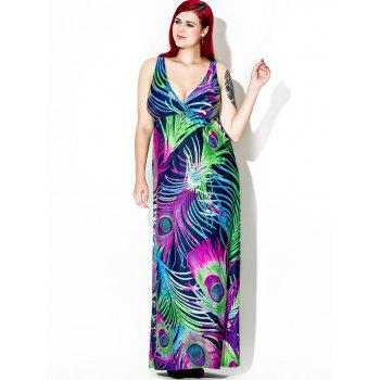 Feather Print Plus Size Floor Length Dress - PURPLE 3XL