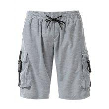 Drawstring Pockets Plastic Buckle Design Sweat Shorts