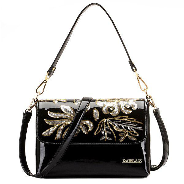 Sequins Patent Leather Shoulder Bag - BLACK