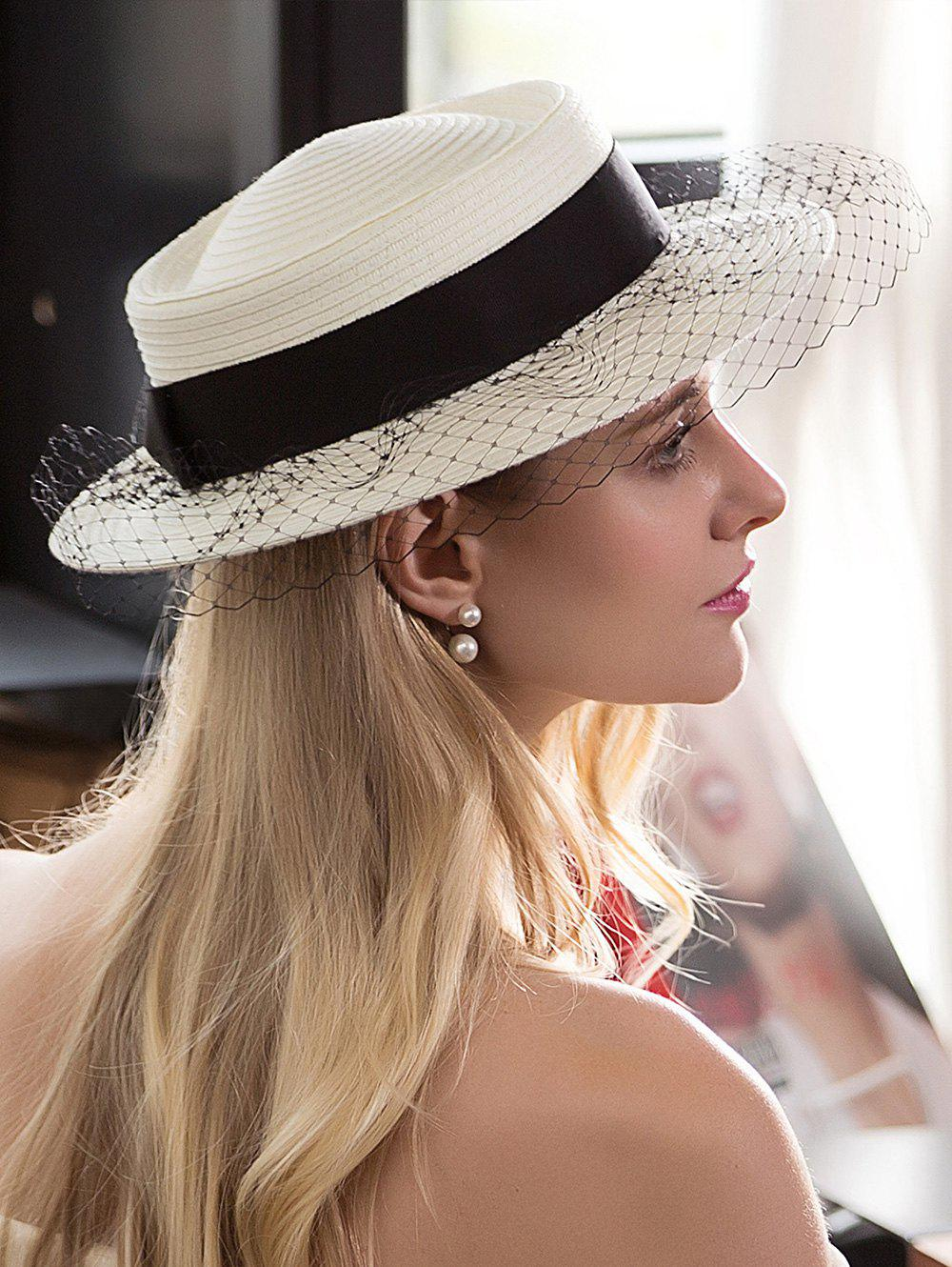 Ribbon Mesh Embellished Fedora Hat - OFF WHITE