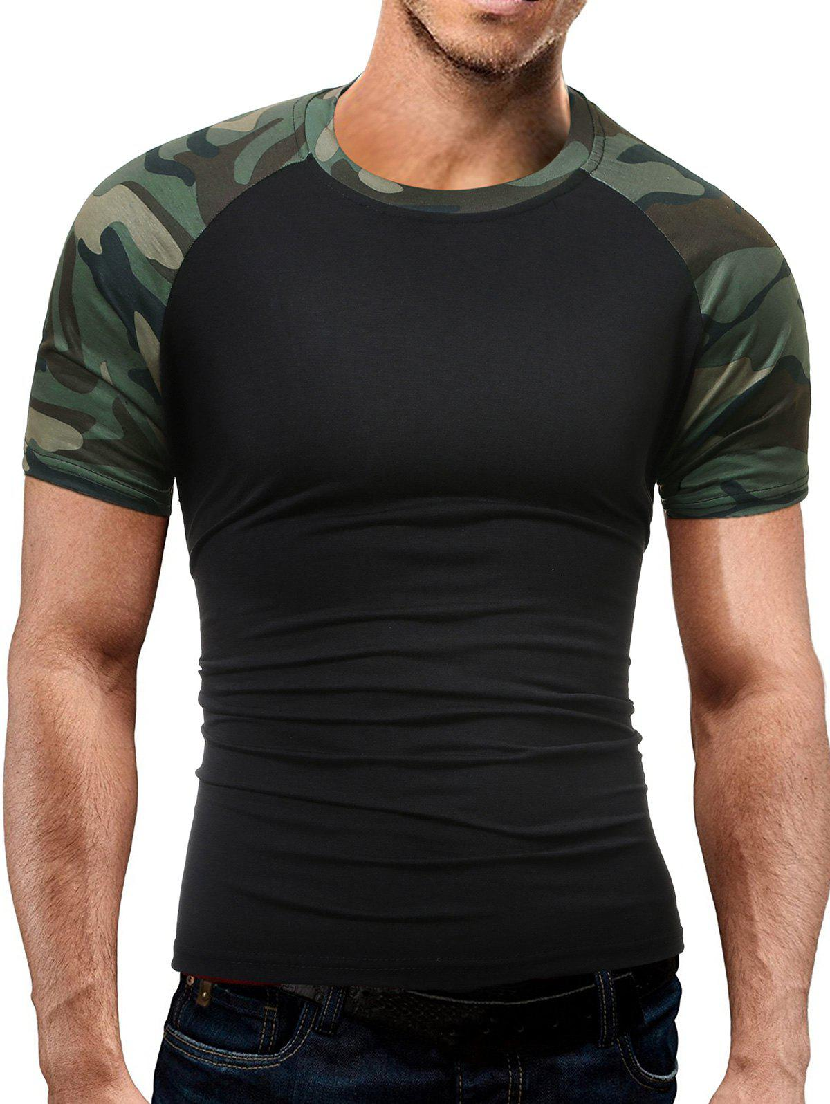 Strech Camo Print Panel Raglan Sleeve T-Shirt stripe panel raglan sleeve t shirt