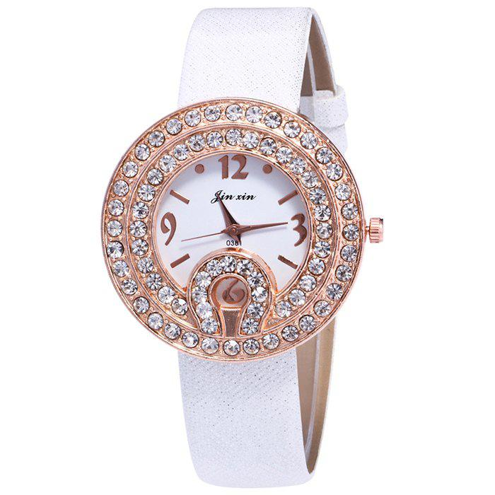 Faux Leather Rhinestone Number Watch, White