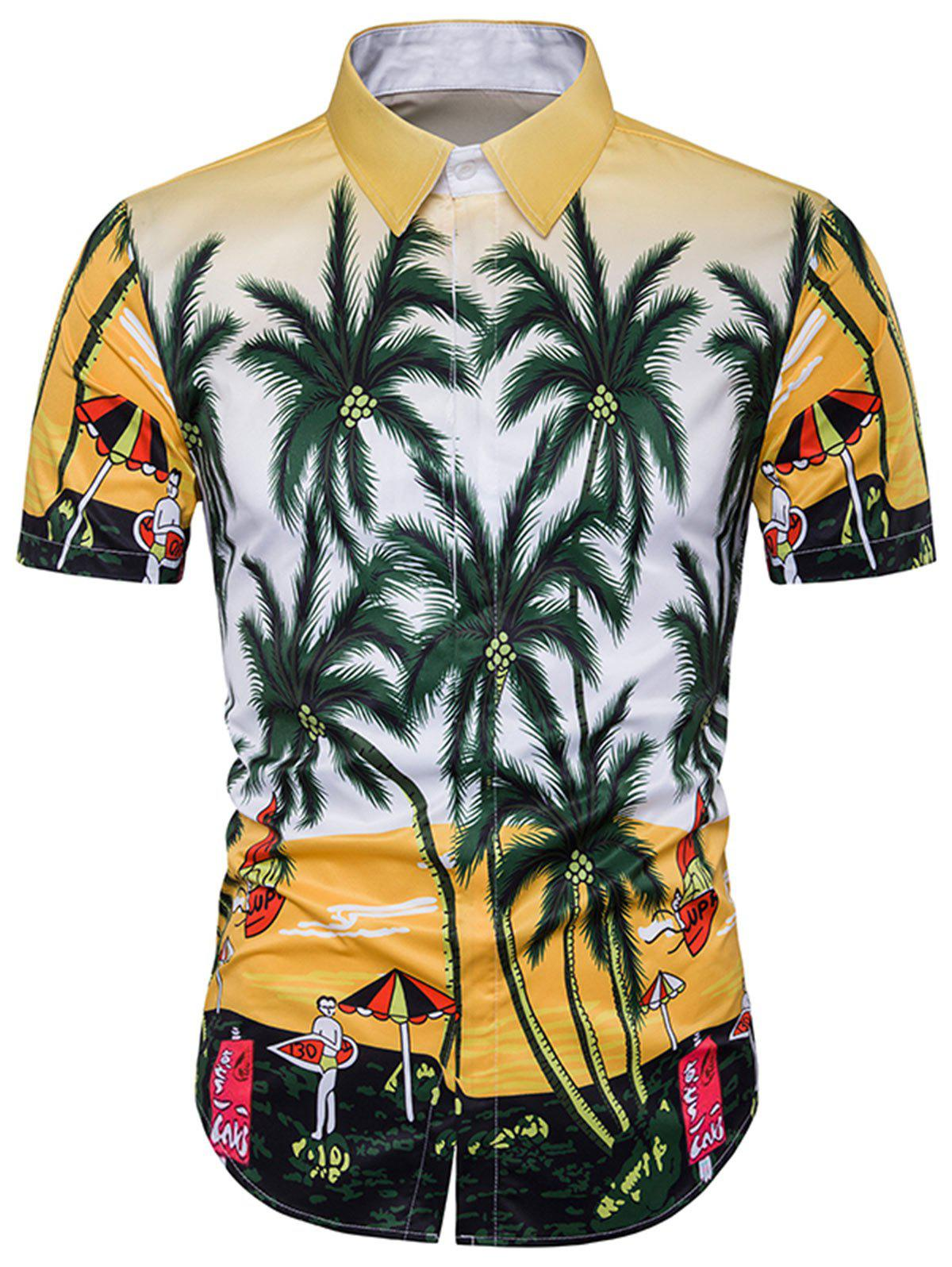 Cover Placket Tree and Beach Print Hawaiian Shirt - COLORMIX 3XL