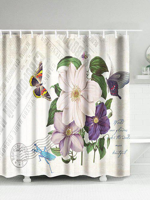 Flower Butterfly Mantis Water Resistant Shower Curtain flower butterfly mantis water resistant shower curtain