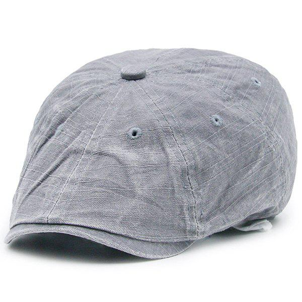Washable Denim Artificial Frayed Flat Hat - LIGHT GRAY