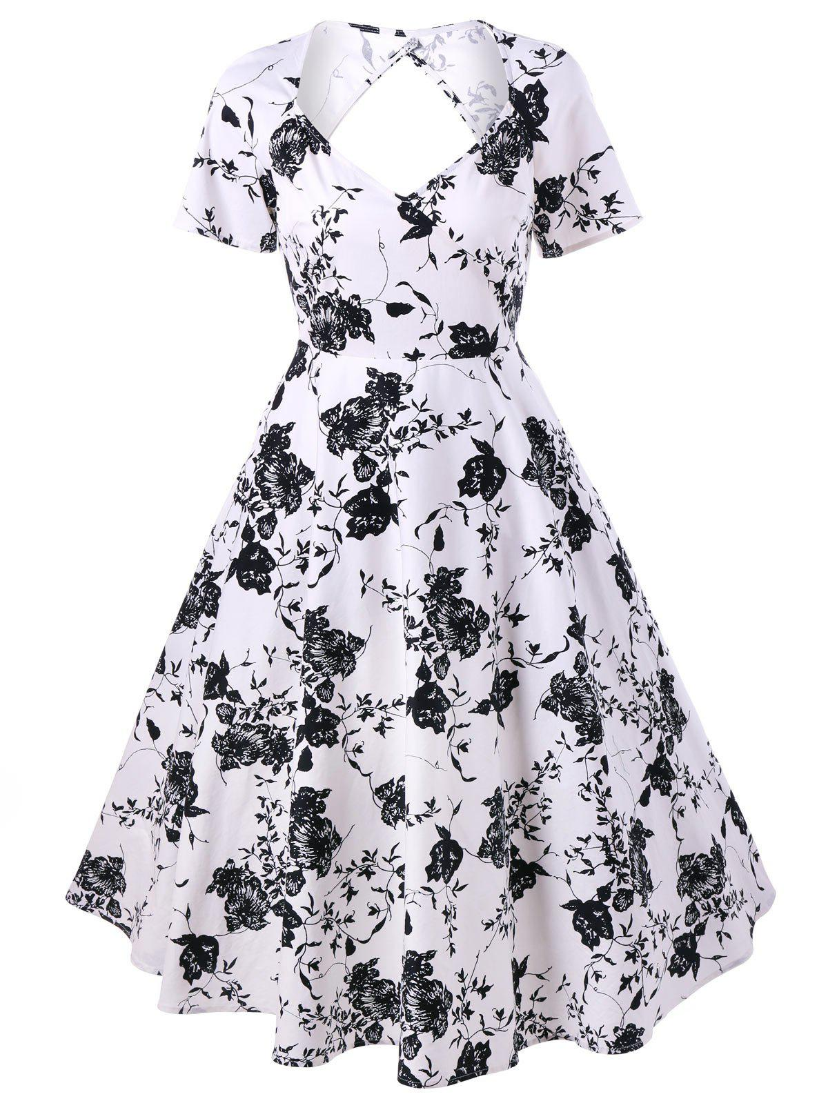 Back Cutout Floral Vintage Swing Dress - FLORAL L