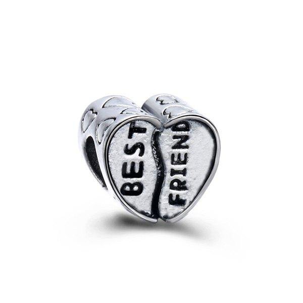 Engraved Best Friend Heart DIY Charm Bead - SILVER