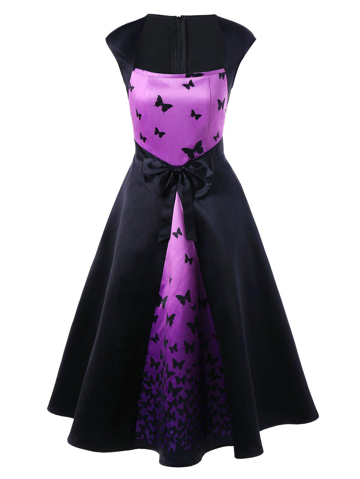 Bowknot Embellished Butterfly Printed Square Neck Retro Dress - BLACK XL