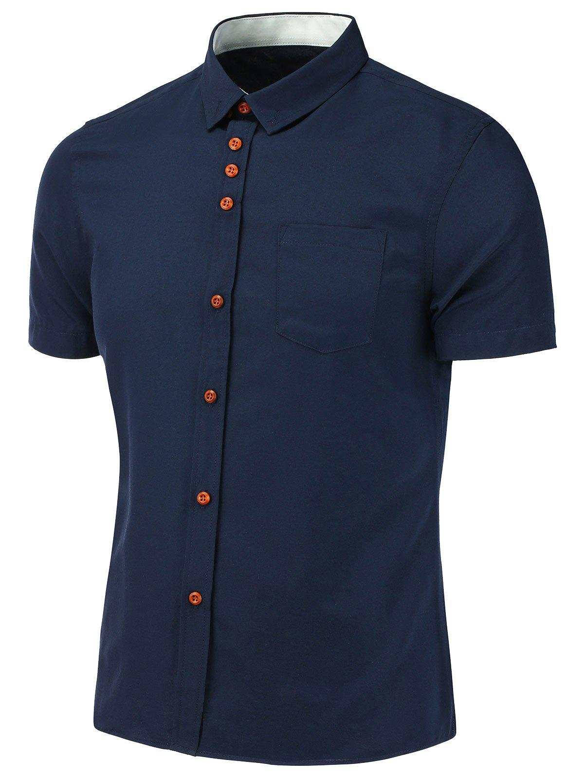 Button Down Short Sleeve Shirt - DEEP BLUE L