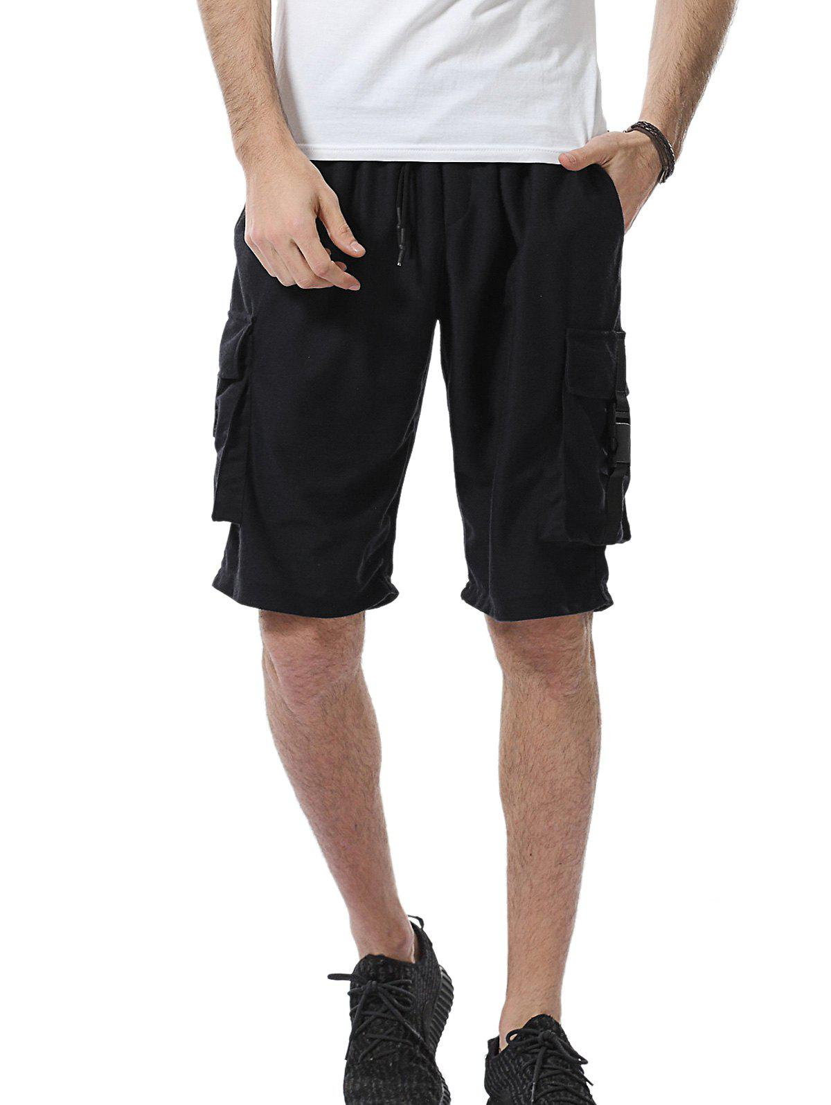 Drawstring Pockets Plastic Buckle Design Sweat Shorts - BLACK M