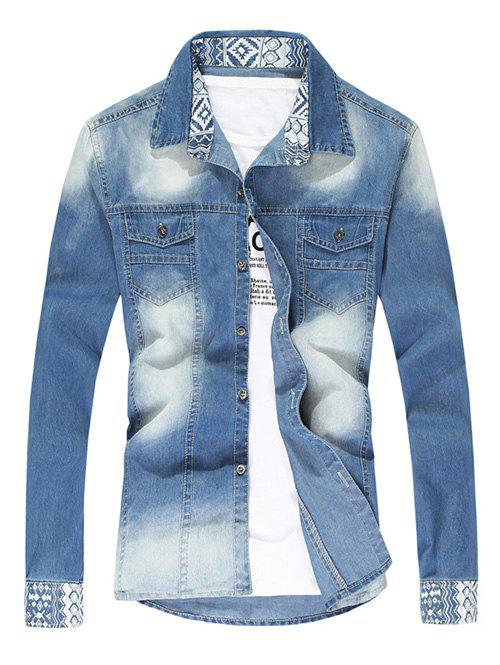 Pointed Collar Faded Denim Shirt - CERULEAN 2XL