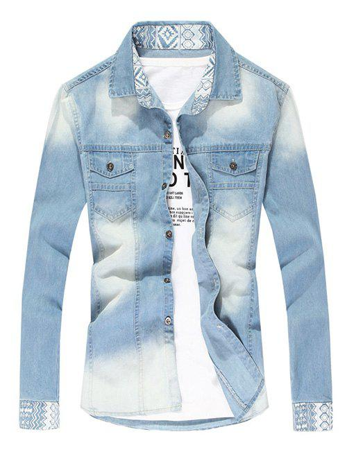 Pointed Collar Faded Denim Shirt - LIGHT BLUE L
