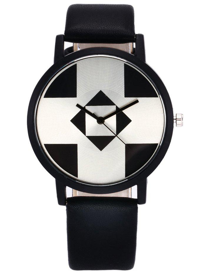 Faux Leather Strap Geometry Watch flower print faux leather strap watch
