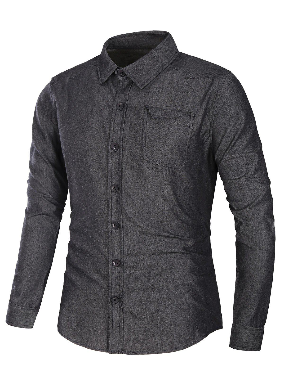 Long Sleeve Pocket Jean Shirt - BLACK 3XL