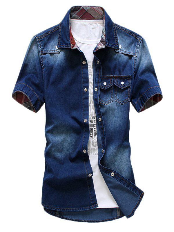 Double Pocket Washable Denim Shirt - CERULEAN XL