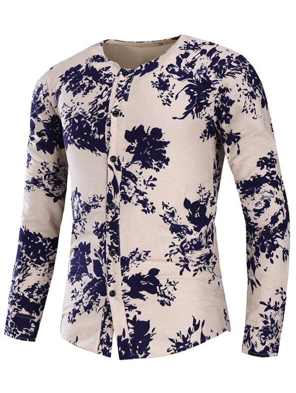 Collarless Cotton Linen Floral Print Shirt - FLORAL L