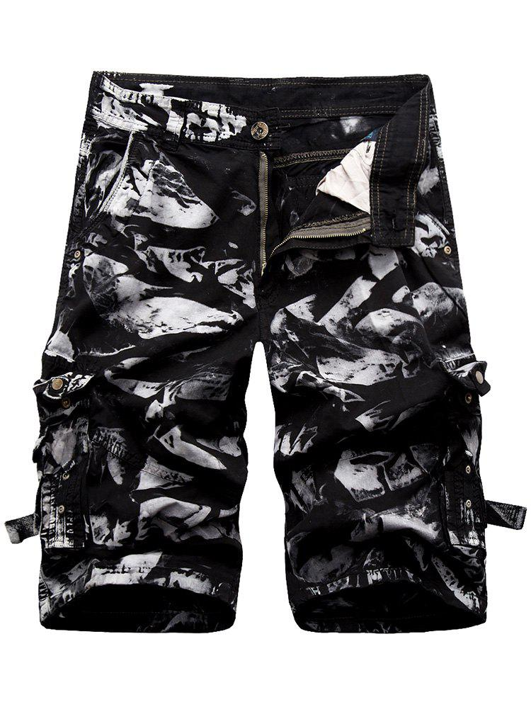 Zip Fly Cargo Shorts with Button Pockets - BLACK 32