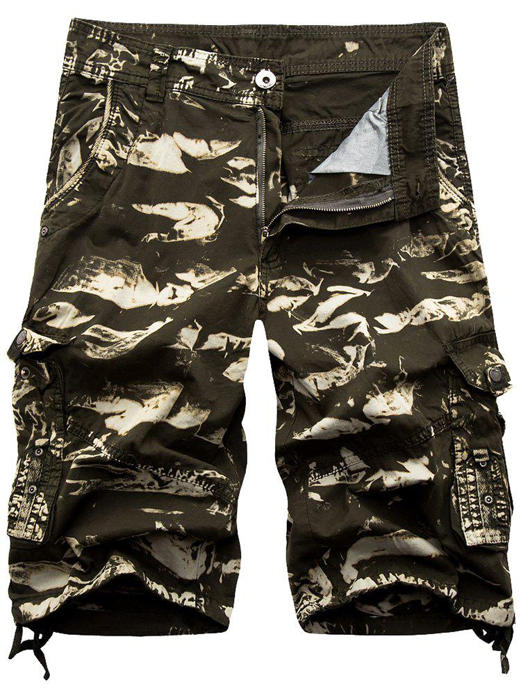 Zip Fly Cargo Shorts with Button Pockets - OLIVE GREEN 32