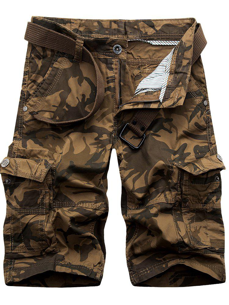 Camouflage Flap Pockets Cargo Shorts - COFFEE 30