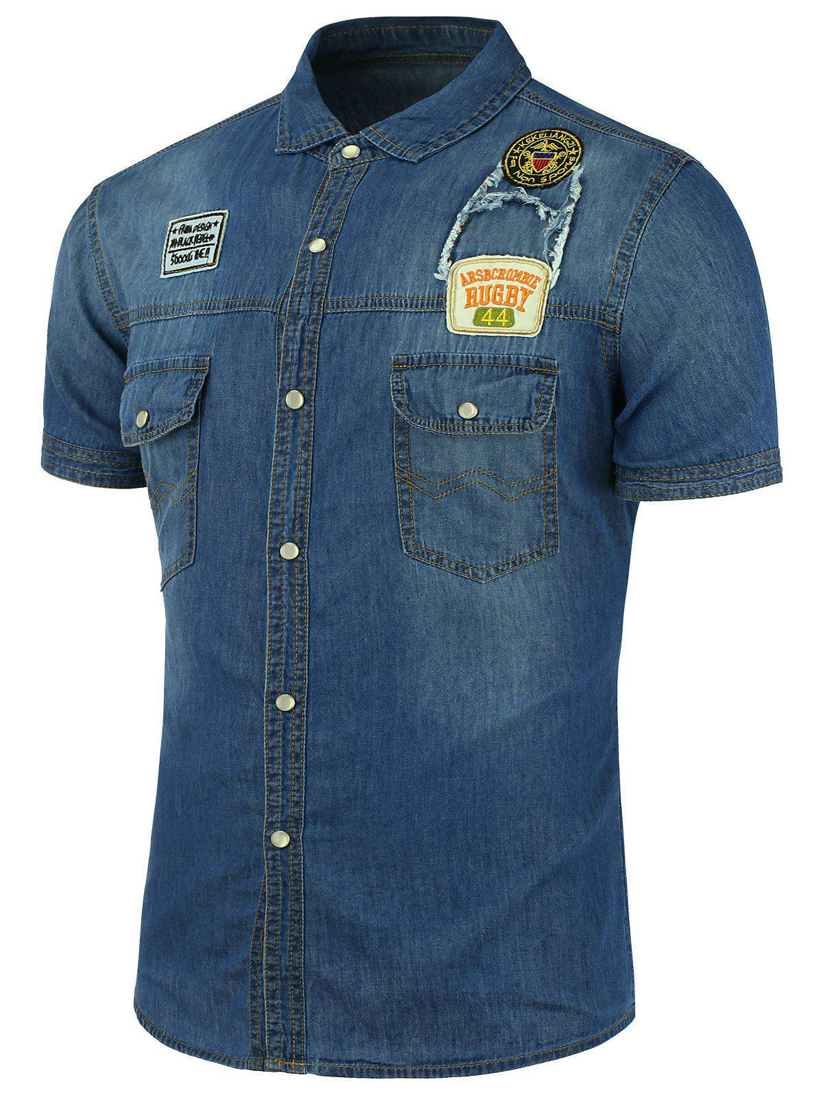 Short Sleeve Badge Design Denim Shirt - CERULEAN 2XL