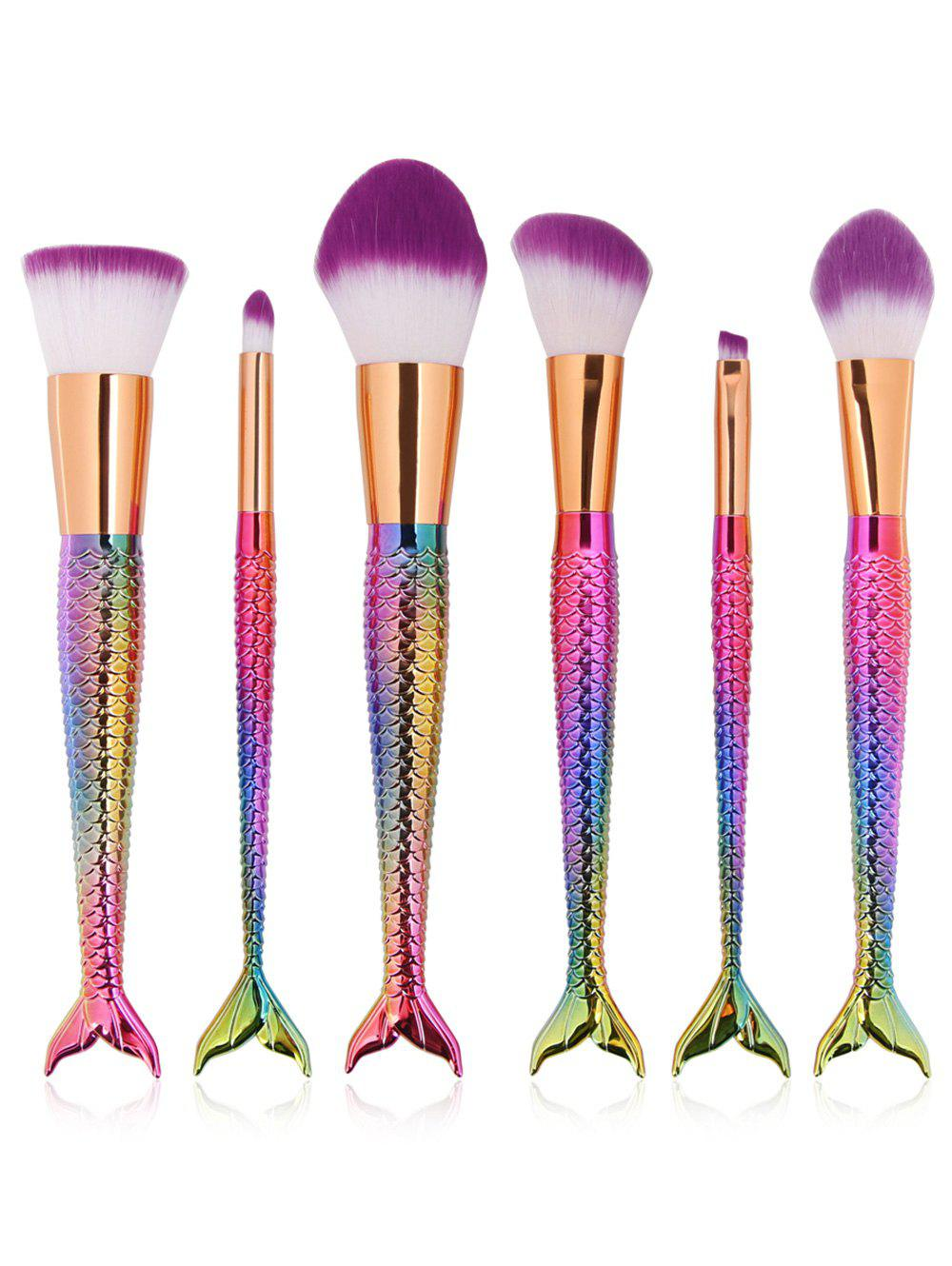 6 Pcs Mermaid Design Multipurpose Makeup Brushes Kit - DAZZLING